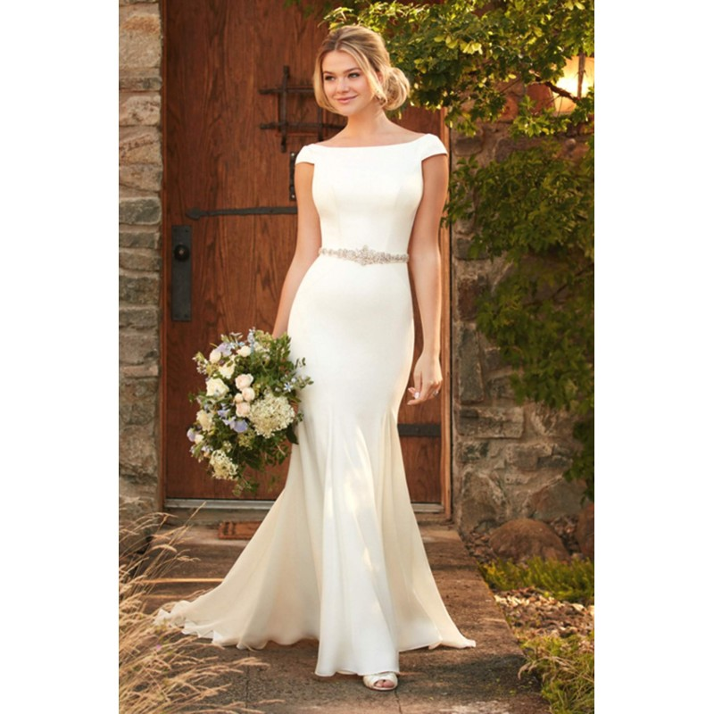 Style D2261 by Essense of Australia - Ivory  White Crepe Belt  Low Back  V-Back Floor Bateau Wedding Dresses - Top Design Dress Online Shop
