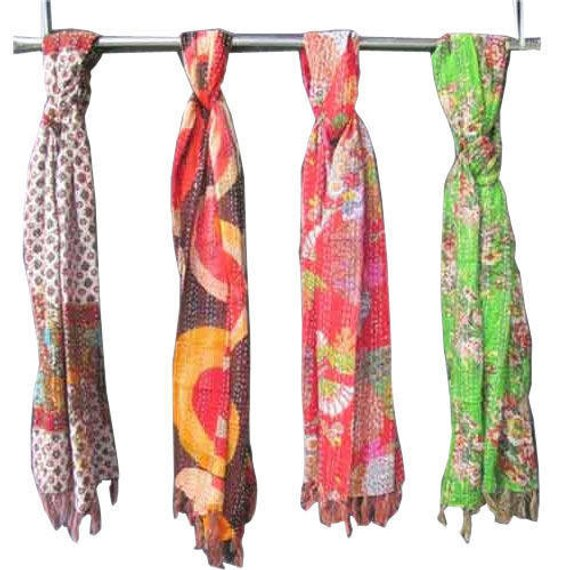 Silk Kantha Scarf Reversible Kantha Shawl Wholesale Set of 5 Kantha Scarves Dupatta Stole