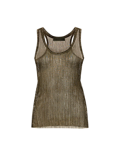 Nili Lotan pleated metallic gold top