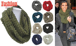 Ladies Winter Warm 3D Glitter Snood Ring Scarf Neck Warmer Girls Cowl Hood Scarf | eBay