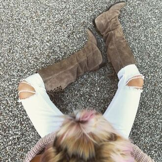 shoes amazing lace fashion pretty style trendy cute love happy fashionista fashion blogger blogger style boots taupe suede tall boots equestrian lace up detail ripped jeans fall essential