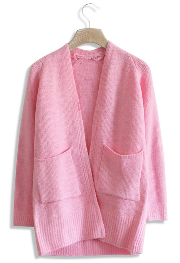 cardigan chicwish pink cardigan