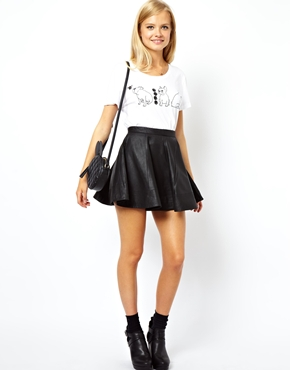 ASOS | ASOS Skater Skirt in Leather at ASOS