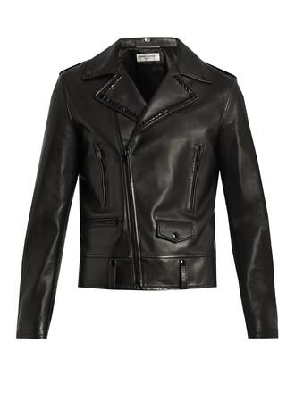 jacket biker jacket embellished leather