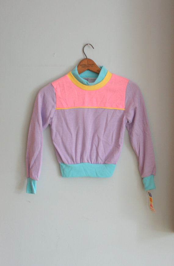 80s WORKOUT Kids Top...size 10 kids....bright. pink. by retroandme