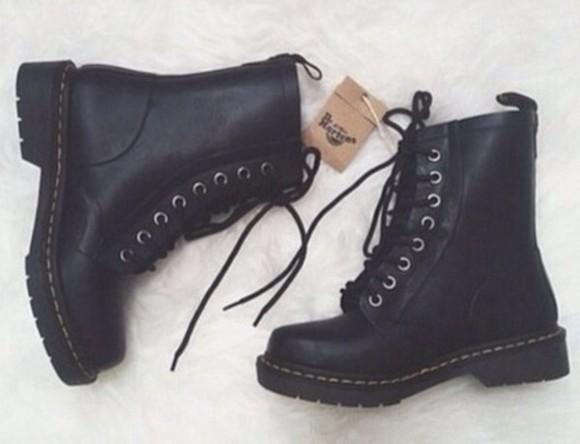 shoes black combat boots boots laced up boots black boots trendy