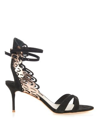 angel sandals suede gold black shoes