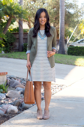 puttingmetogether,blogger,dress,jacket,shoes,jewels,bag,statement necklace,striped dress,green jacket,mini dress,nude boots,ankle boots,nude bag,nordstrom,stripes,short dress,spring outfits,necklace,brown bag,tote bag,boots