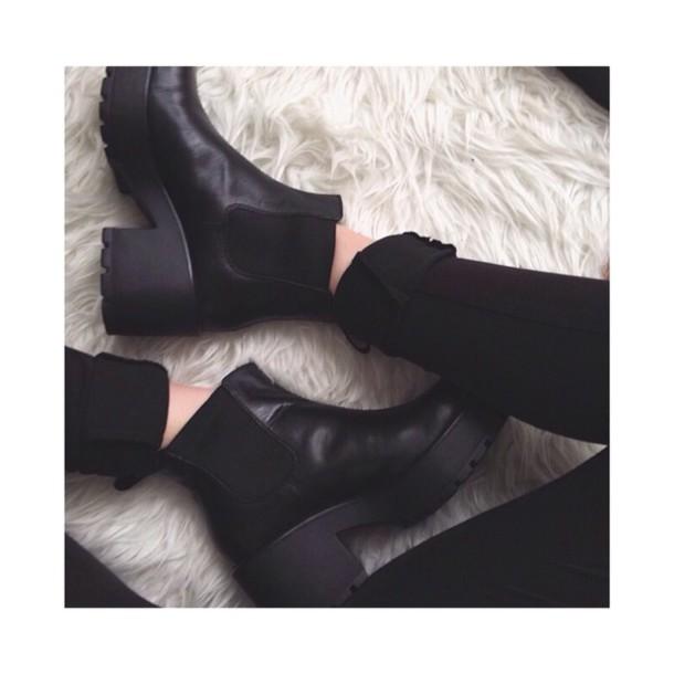 Shoes: chelsea black heeled boots, black heeled boots, chelsea ...