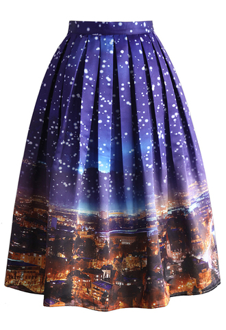 skirt holy snowy night printed midi skirt chicwish pleated skirt midi skirt printed skirt