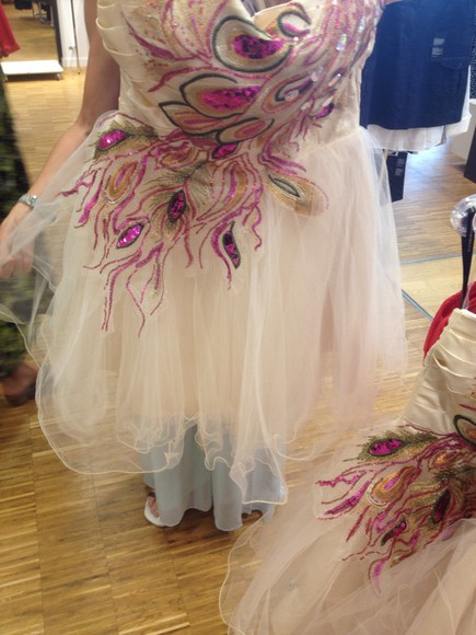 cream dress prom dress feathers feather dress coctail dress