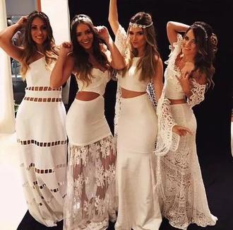 dress hippie white long dress crochet dress white dress maxi dress flowers