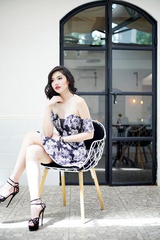 olivia lazuardy blogger off the shoulder dress roses platform high heels