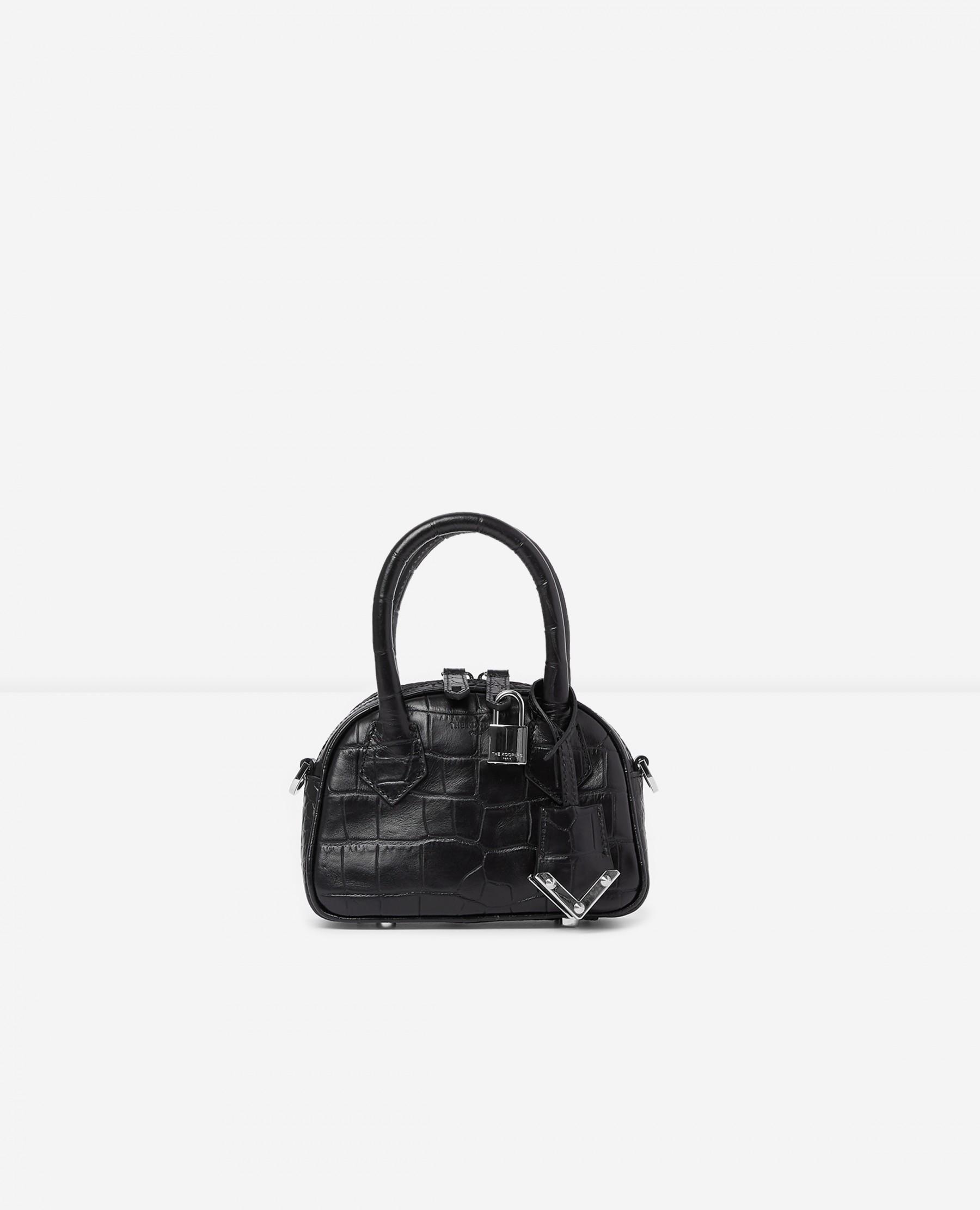 The Kooples United States Official Website - Black crocodile-print nano bag Irina by The Kooples