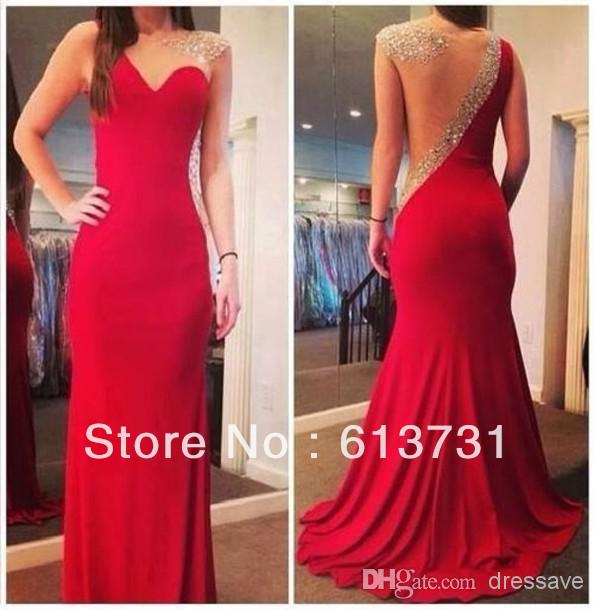 Cheap Wedding Invitations - Discount Sheer Back Scoop Neck Crystal Beaded Red Mermaid Online with $122.2/Piece | DHgate