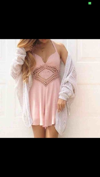 cardigan pink dress white sweater cute dress tribal pattern patterns salmon white cardigan baggy cardigan gucci hipster indie grunge soft grunge fall spring hot nice nice outfit wholes wholey clothes salmon dresses