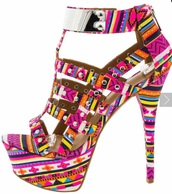 shoes,patterned shoes,pattern,high heel sandals,multicolor