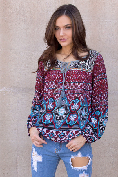 top bohemian indie style summer summer outfits spring spring outfits outfit lookbook long sleeves tribal pattern tassel tumblr outfit cute boho fashion instagram boutique boho shirt