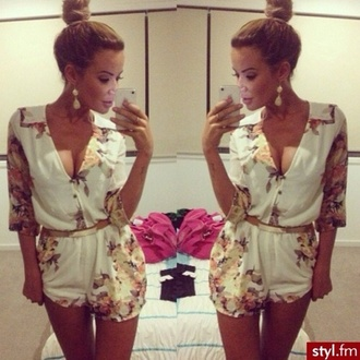 blouse floral fashion girly styl.fm dress white jumpsuit shorty shorts