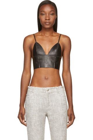 74d10d5df03ae T by Alexander Wang - Black Leather Raw-Edged Triangle Bralette