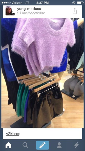 shirt fuzzy sweater skirt black leather skirt