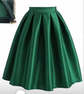 skirt,green,satin