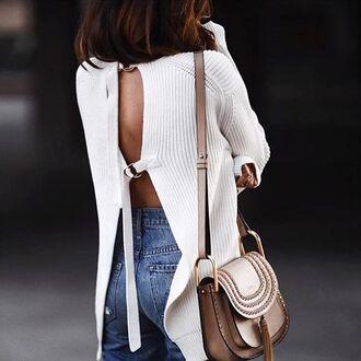 sweater tumblr white sweater open back backless backless sweater bag nude bag chloe bag chloe tassel denim