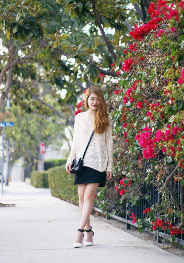 rouge fox sweater skirt bag shoes