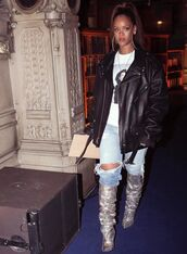jacket,top,boots,jeans,denim,ripped jeans,rihanna,instagram,fashion week 2017,Paris Fashion Week 2017