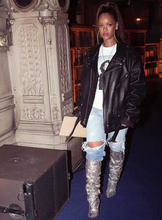 jacket top boots jeans denim ripped jeans rihanna instagram fashion week 2017 paris fashion week 2017