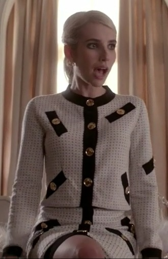 cardigan chanel oberlin scream queens emma roberts white jacket skirt black gold buttons jewels
