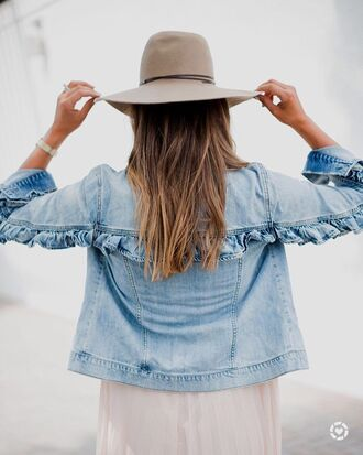 jacket tumblr denim denim jacket ruffle felt hat hat