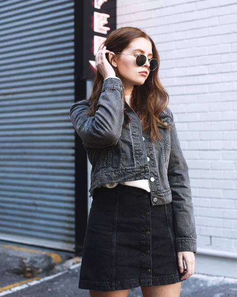 dce1120e98 jacket tumblr black jacket denim jacket denim denim skirt black skirt mini  skirt sunglasses