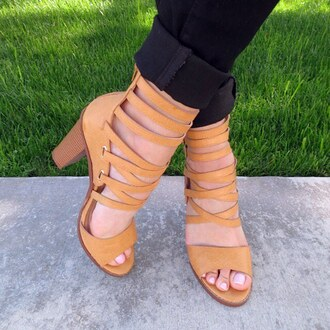 shoes chunky sole heels heel tan mustard leather faux gojane