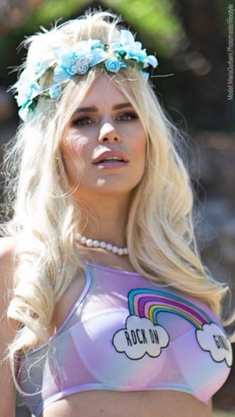 t-shirt maria durbani maria durbani tezenis rainbow top rock love blonde hair