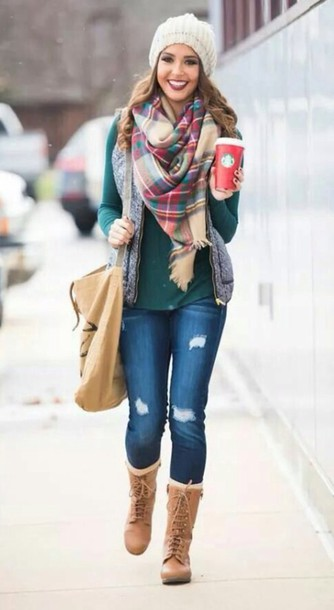 scarf vest hat bag jeans jacket shoes sweater style plaid boots top shirt
