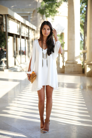dress white dress cut out dress loose fitting asymmetric dress backless dress summer outfits whitney port shoes jewels