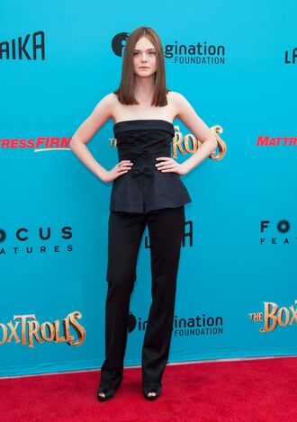 pants elle fanning dark blue