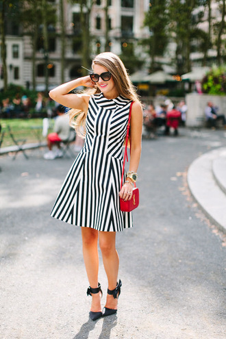 southern curls and pearls blogger striped dress black and white dress