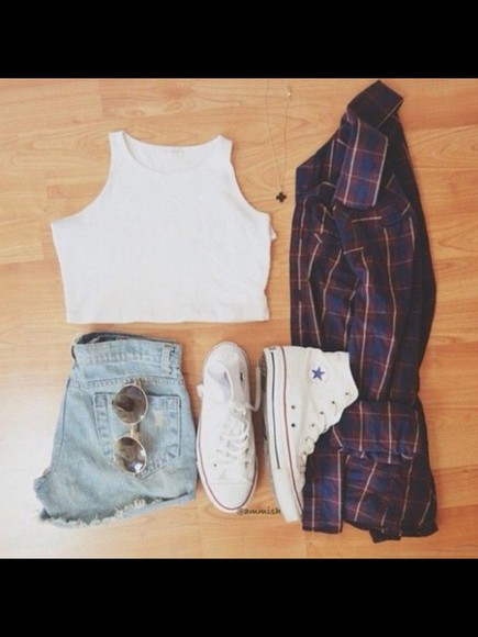 top crop tops shoes white High waisted shorts cardigan flannel sunglasses