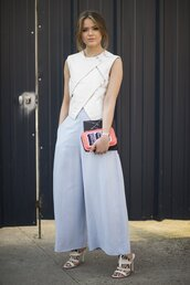 pants,office outfits,kristina bazan,kayture,blue pants,wide-leg pants,top,white top,sandals,white sandals,top blogger lifestyle,bag