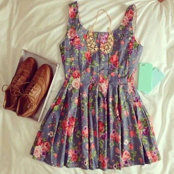floral dress pleated dress jewels shoes cute floral