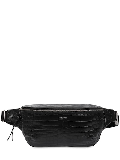 SAINT LAURENT Croc Embossd Leather Belt Bag Black