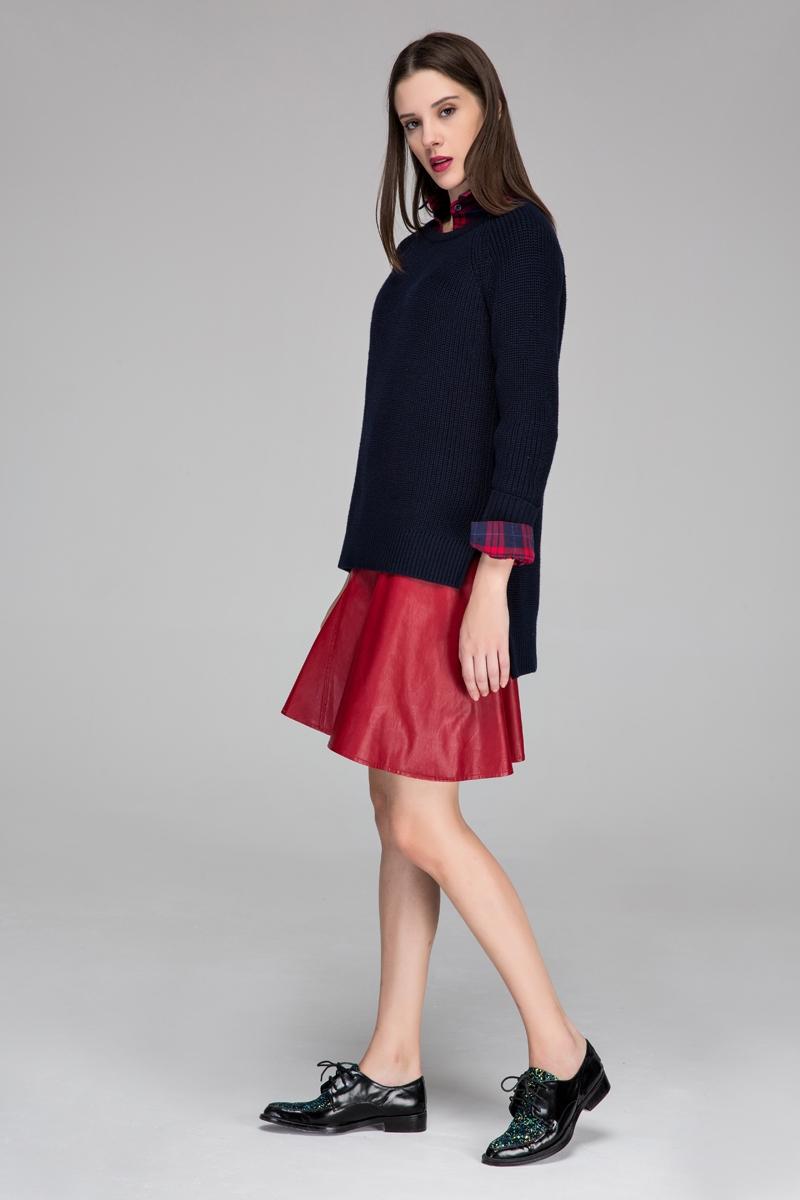 Faux fur midi skirt with flared hem