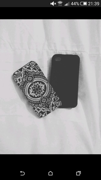 phone cover mandala cover beautiful cover black and white