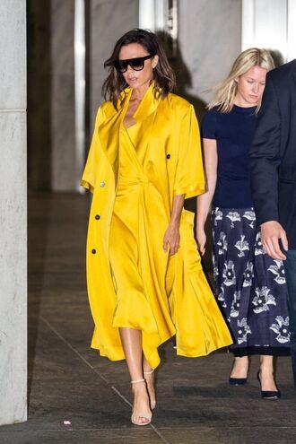 coat yellow yellow coat all yellow outfit dress midi dress slip dress streetstyle yellow dress sandals high heel sandals sandal heels sunglasses
