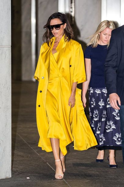 coat yellow yellow coat all yellow outfit dress midi dress slip dress streetstyle yellow dress sandals high heel sandals sandal heels sunglasses