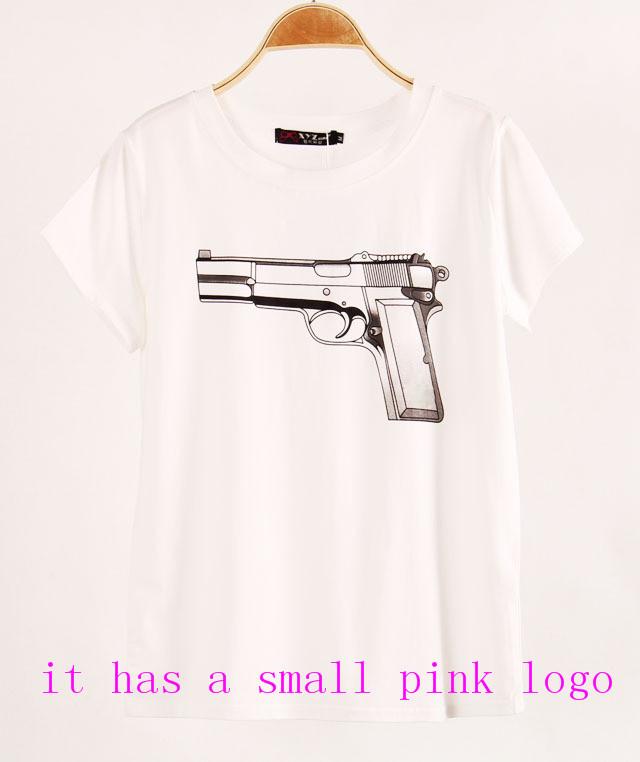 Shirts with printed cc & gun short sleeve t shirts stretch cotton tees modal tops s/m/l