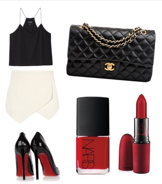 bag black skirt nail polish tank top chanel