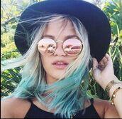 sunglasses,pink,coral,round sunglasses,mirrored sunglasses,hat,hair,summer,fashion